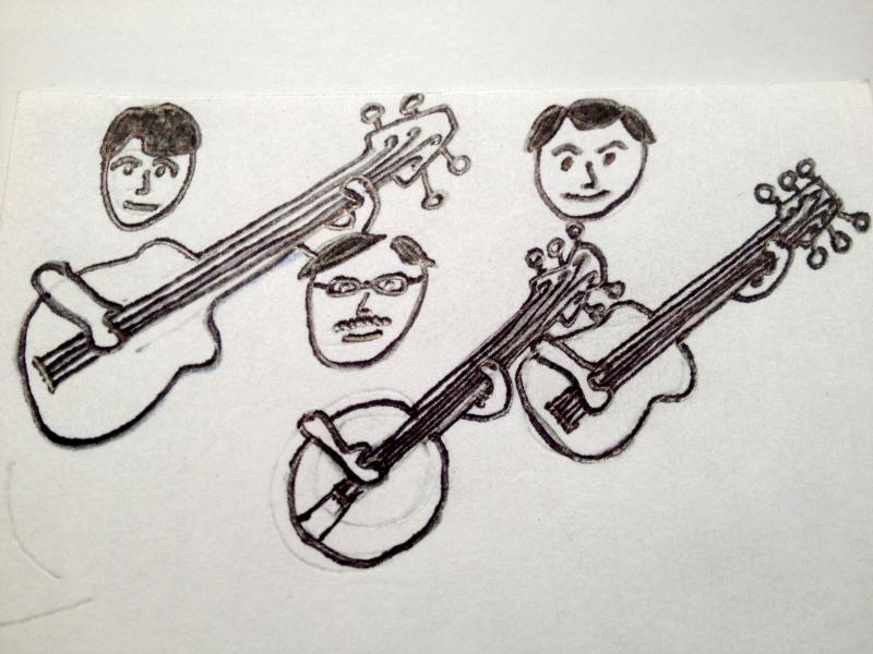 a drawing of 3 musicians