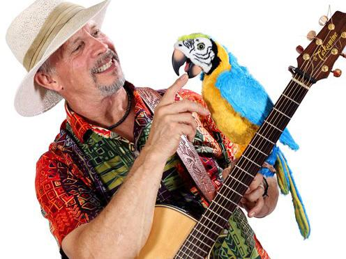 Man with a parrot and guitar